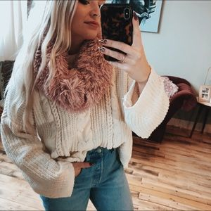 Fur Soft Pink Scarf Circle Cozy